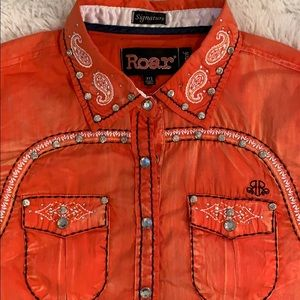 Roar Western Shirt Embroidered Rhinestone Size Med